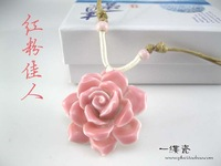 (Free shipping)Ceramic rose flower pendant necklace jewelry unique  gift  Pendants  Women's accessories