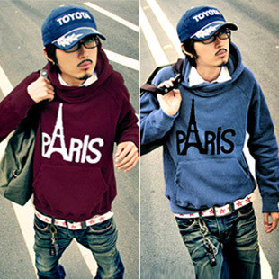 Free Shipping Hot Men's Jackets,Men's Hoodies,eiffel tower fleece thickening with a hood sweatshirt Color:6 Colors Size:M-XXL(China (Mainland))