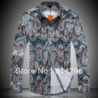 Free   shipping         New square collar broken beautiful man long sleeve shirt