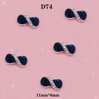 3D Fashion DIY Nail Art Glitter Decorations Black Bow Tie With White Spots Nail Art Style Size:11*6mm#D74