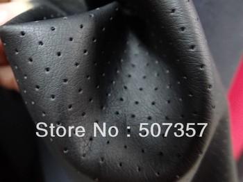 Wholesale simulation quality black perforated leather fabric / leatherette PU garment leather / apparel fabrics