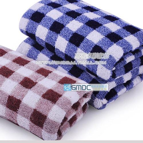 free shipping 5pcs Wire bamboo fibre classic plaid lovers towel bamboo fibre towel(China (Mainland))