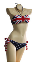 Free Shipping Summer Women Hot Sexy Stars and Stripes USA Flag Bikini 2013 Padded Twistde Bandeau tube Bikini America swimwear