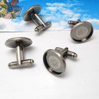free shipping,100pcs/lot 16mm round Antique silver cufflinks blank cuff link base,metal,fashion jewelry