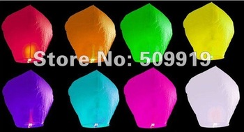 Promotion 20 pcs/Lot Oval-shape Pure Color Flying Sky Lanterns For Wedding Free shipping (can mix colors)
