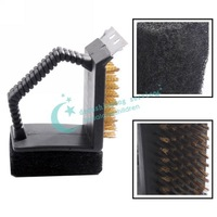BBQ Barbecue Grill Cleaner Cleaning Brush Steel Wire Sponge Shovel Set Hot Drop Shipping/Free Shipping