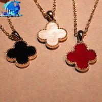 Wholesale fashion Gossip Girl Four Leaf Clover flower neckalce 36pcs/Lot red black white short charm pendant necklace jewelry