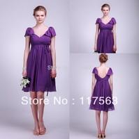 Watch!Free Shipping Purple Cap Sleeve Knee Length Chiffon Bridesmaid Dress BD007