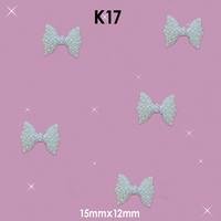 Fashion 3D White Bow Diamond Rhinestone DIY Nail Art Glitter Nail Art Style Decorations Size: 15mm*12mm#K17