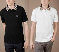 free shipping High quality 2013 summer fashion b men's clothing soft balls 100% cotton plaid collar short-sleeve T-shirt