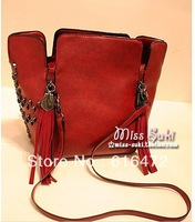 2013 Hot Sale Shoulder Bags For Women Punk Rivet Totes Bags With Skull Messenger Bags For Ladies with Wine Red and Black Color