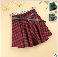 College English lattice short skirt of tall waist skirt umbrella skirt wind restoring ancient ways is half skirt  4 color