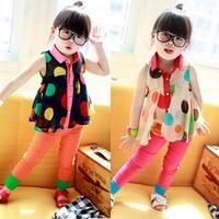 Free shipping  Baby  sleeveless shirt  summer girl chiffon  baby top with dot   5sets/lot