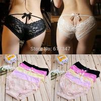 Girls sexy lace 100% cotton briefs diamond decoration cutout transparent panties hot-selling