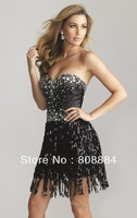 New arrivaldesigner sweetheart black sexy sequins beading short cocktail dress 2013