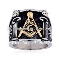 Free Shipping! 3pcs Square G & Pillars & Sunshine Masonic Ring Stainless Steel MER05-20