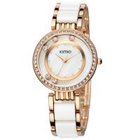 100% real KIMIO brand watches Lady fashion bracelet watch fashion rhinestone ceramic women's watch 485