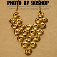 1126 ! fashion accessories fashion circle patchwork metal geometry necklace vintage