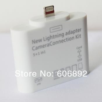 10pcs/lot 5 in 1 Camera Connection Kit USB TF SD Card Reader for iPad Mini/ ipad 4 wholesale