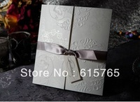 Elegant Embossed Tri-fold Wedding Invitation With Silver Bows (Set of 50) Printable and Customizable Wholesale Free Shipping