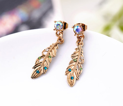 Free Shipping Fashion Vintage Golden Feather Colorful Crystal Stud Earring For Women(China (Mainland))