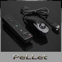 Free shipping black color Nunchuck+Wireless Remote Controller & Skin For Nintendo Wii with silicon case