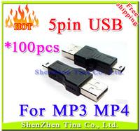 HOT 100pcs/lot USB 5pin cable for MP3 MP4 player ,Mini USB cable