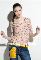2013  New Fashion Women V-neck Silk floss Shirt Red Bird Print Roll Up Sleeve Blouse Free Shipping  651088