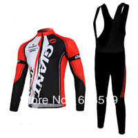 High Quality  red GIANT team Winter Thermal Fleece Long Sleeved Cycling Jersey /cycling clothing+ bib pants.