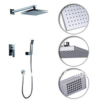 "60% off Sale Cheapest  Modern Square 8 "" Bath Bathroom Rain Shower Faucet Set Mixer Tap Single Handle Chrome Finish +Hand Shower"
