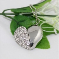 5pcs/lot Crystal Heart Shaped USB Flash Drive Disk Necklace  2GB 4GB 8GB 16GB
