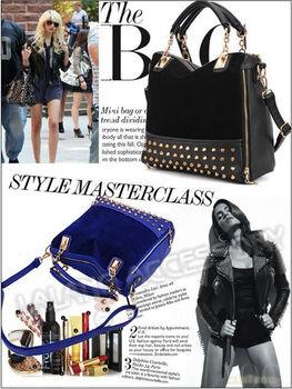 Free Shipping Fashion 1pece/lot 2 Colors PU Leather Rivet Tote Hobo Soft Zipper Korean Lady Women Shoulder Handbag 640139