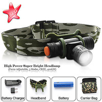 2pc Bicycle Front Light bike light And Headlamp 5 Mode 300 Lumens Cree Q5 Led Headlamp Zoomable Headlight +Battery + Charger