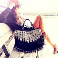 2013 leopard print decoration tassel bag handbag messenger bag fashion bag fashion vintage female bags