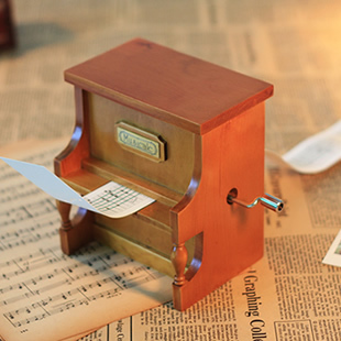 DIY Wooden Vertical Piano Hand Crank Paper Tape Compose Music Box + Puncher + 20 Tape Strips