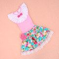 2013New arrival/ children summer set/girl pink tshirt+girl  big flower layered summer skirt/child  princess dress