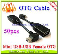 HOT 50pcs/lot USB2.0 A Female to Mini USB-B 5Pin Male Right Angled 90 degree OTG Host cable