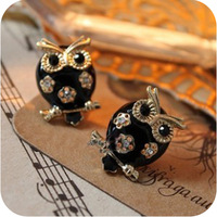Min.order is $15 (mix order) Oe0101 fashion accessories cutout exquisite black oil owl stud earring 7g