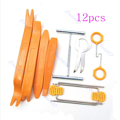 One Set 12pcs Car Radio Door Clip Panel Trim Dash Audio Plastic Removal Pry Tool Kit(China (Mainland))