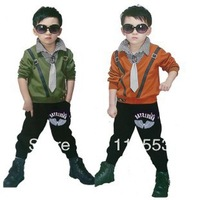 2013 New arrival children Clothing/boys false two-piece Plaid T-shirt+pants suit/kids suit/byos sets/2colors CT025