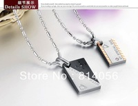 plating rost gold 316L stainless steel fashion Lovers Pendant  Necklace wholesale and retail FREE SHIPPING