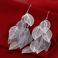 Leaf drop earrings,Fashion costume earrings jewelry,Big Long Silver earrings,Nickle free antiallergic,High quality Free shipping