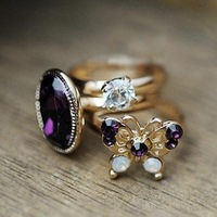 Min.order is $10 (mix order) 22A18  fashion elegant rhinestone gem butterfly ring wholesale free shipping