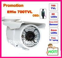 Security Sony  Effio-e 700tvl 60LEDS OSD menu metal housing indoor/Outdoor  IR CCTV Camera. free shipping