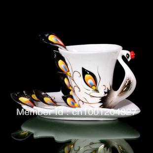 Black Peacock Ceramic Cafe Coffee Set Tea Set 1Cup 1Saucer 1Spoon Mug