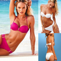 Free shipping 2013 Summer Women's sexy push up adding cup strapless bandeau bikini swimwear set (white,fusia) S-M-L