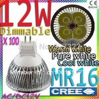 FedEX Free shipping 100 pcs CREE Dimmable MR16 12W 9W AC&DC12V high power Led spotlight downlight lamp bulb led light lighting
