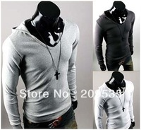 Hot-selling  cotton t-shirt  long-sleeve T-shirt male slim with a hood Asian size M,L,XL,XXL  DX026