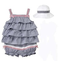 ree shipping!baby girl gallus romper girl cute lace romper+hat 2pcs set sleeveless bodysuits set girl summer clothes 4sets/lot
