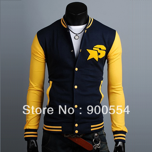 Embroidered logo men's baseball uniform self casual long-sleeved sweater jacket(blue,Red) M-L-XL-XXL,Drop shipping support(China (Mainland))